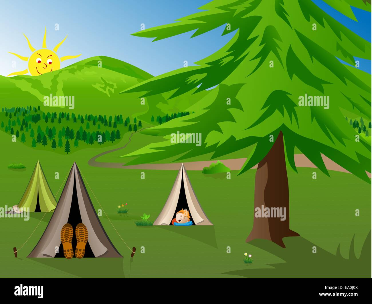 vector cartoon illustration of kids camping in the mountains - Stock Vector