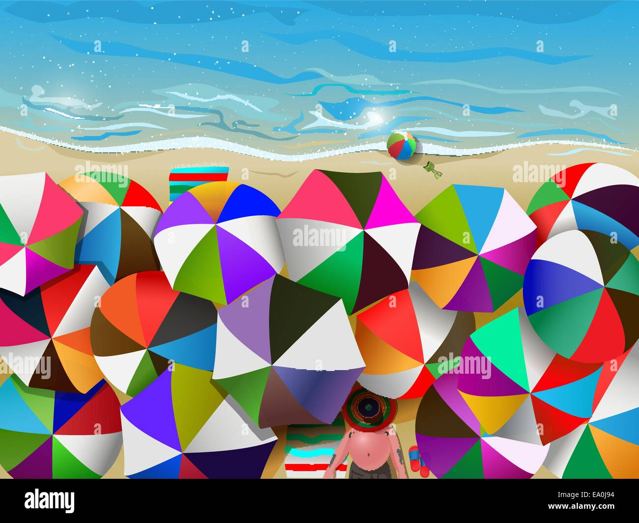 vector illustration of crowded beach full of umbrellas, eps10 file, gradient mesh and transparency used - Stock Vector