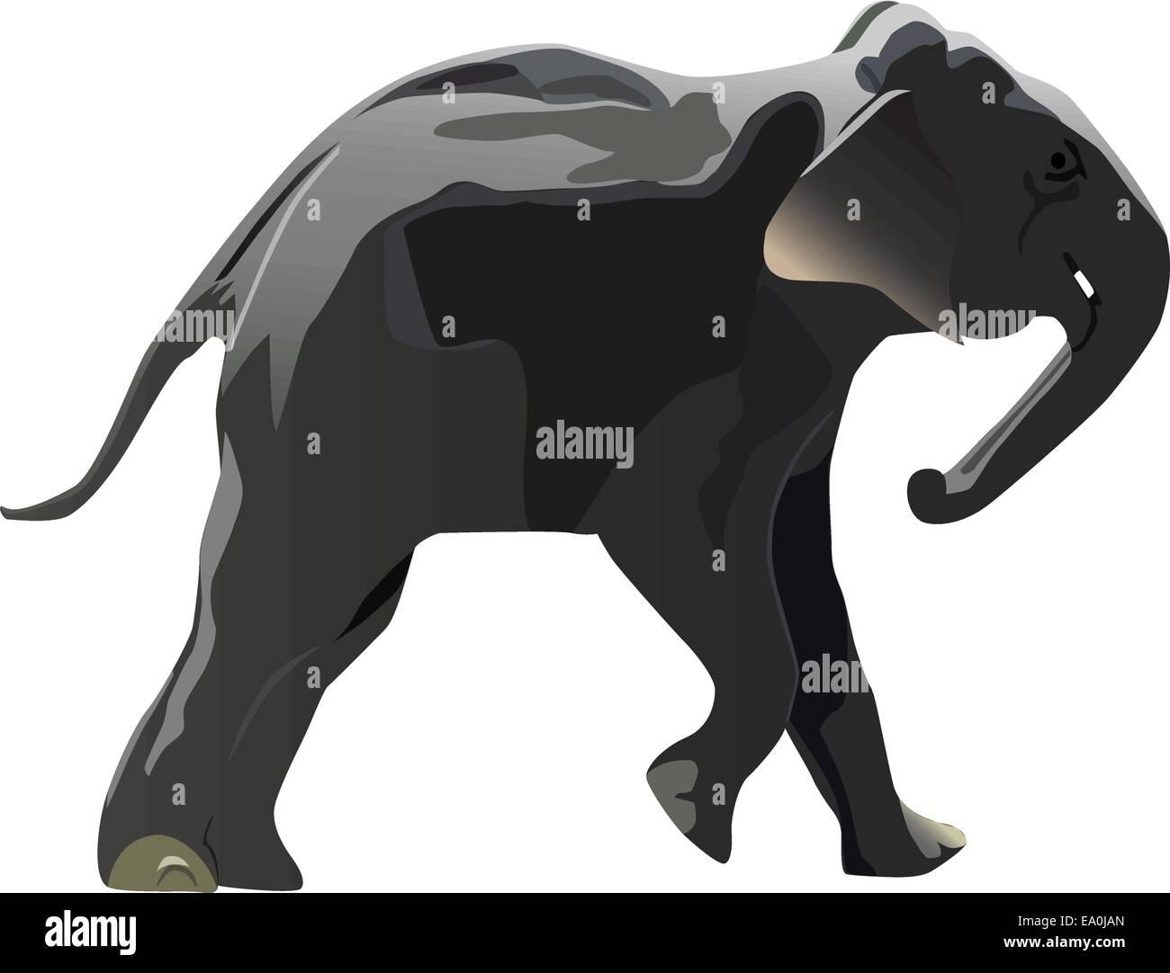 cartoon elephant pushing something - Stock Vector