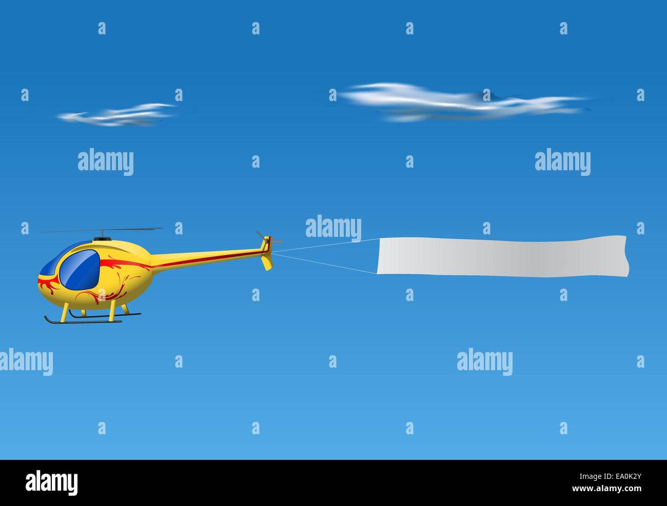 vector cartoon helicopter pulling empty banner on blue sky - Stock Image