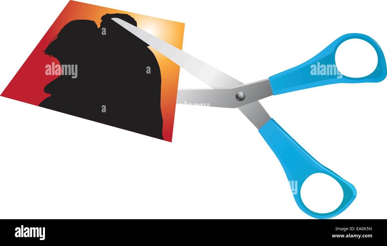 scissors cutting romantic couple picture - Stock Image