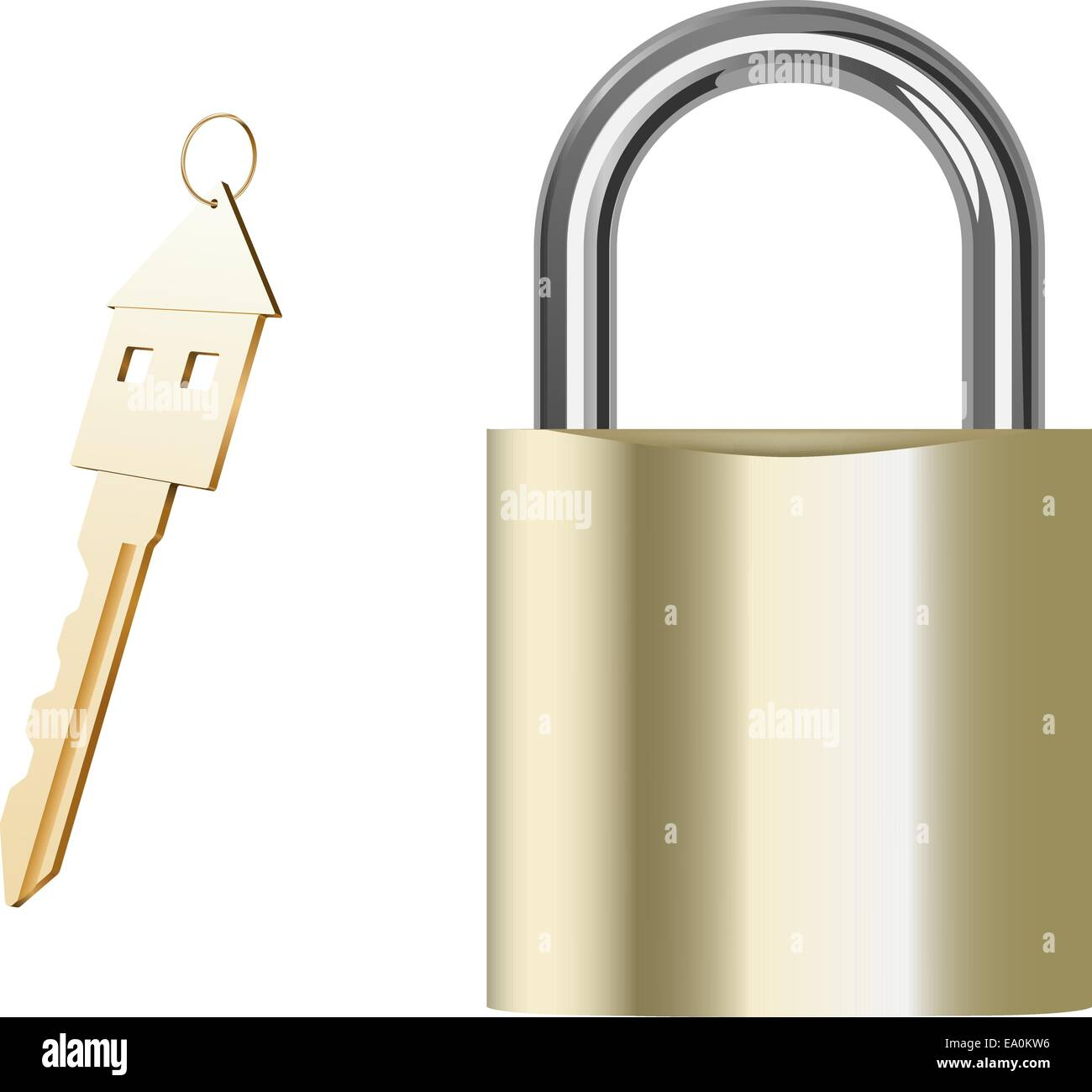 vector realistic golden padlock and key on white background - Stock Vector