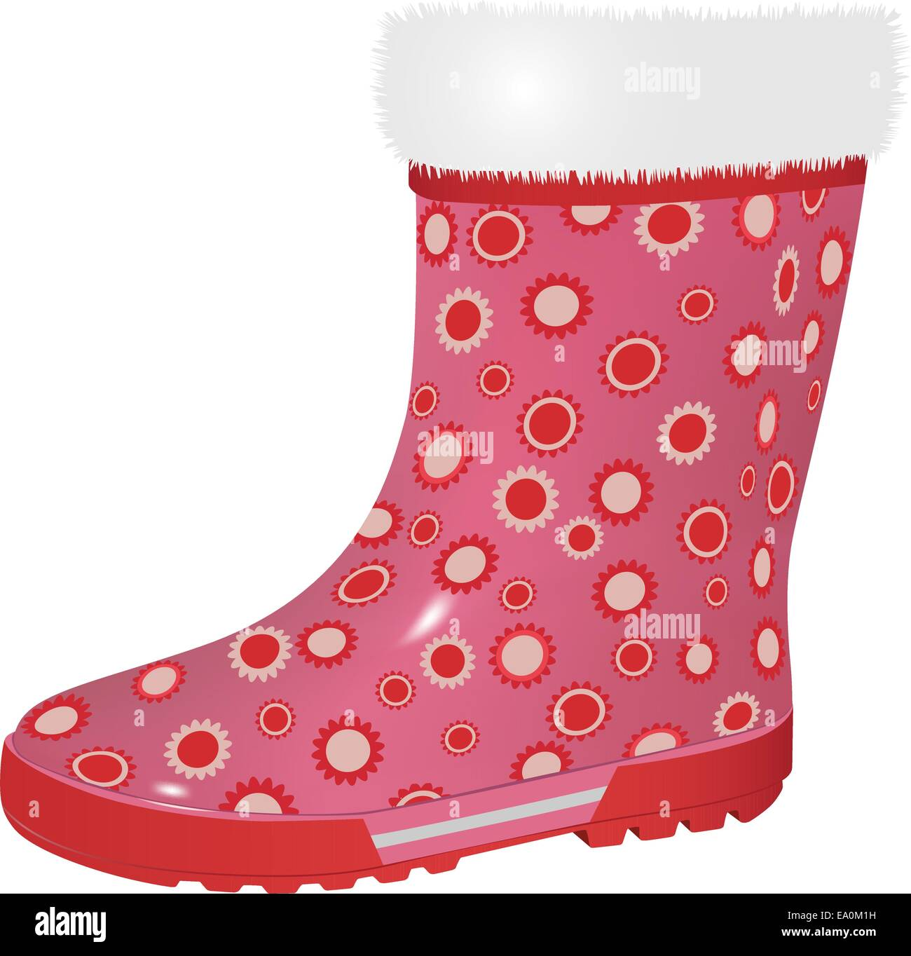vector pink rubber boot on white background Stock Vector