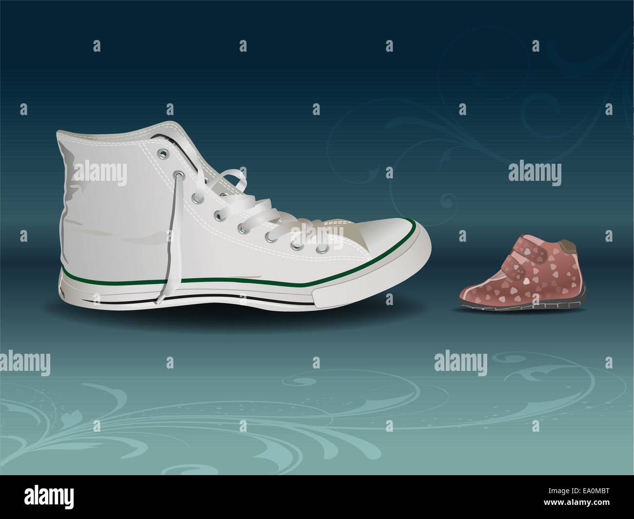 vector conceptual illustration of big sneaker against small baby shoe, eps10 file - Stock Image