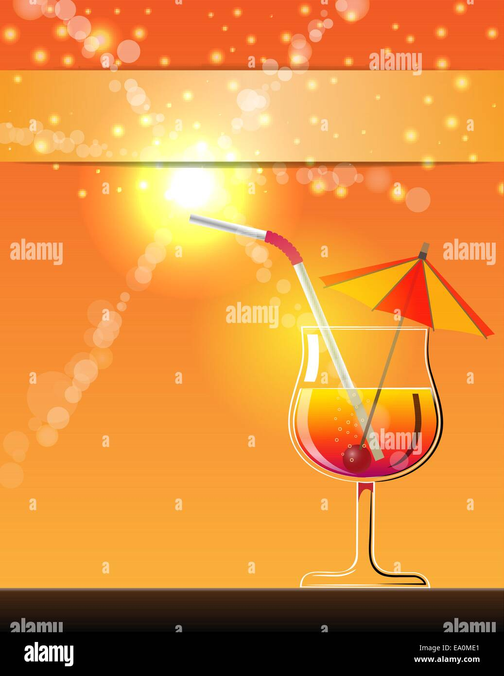 vector hot summer cocktail banner, eps10 file, transparency used - Stock Vector