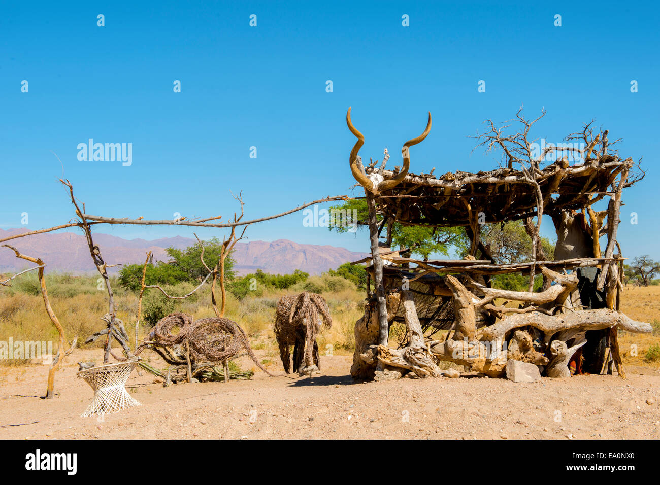 Souvenir sales on the roadside, near Twyfelfontein, Namibia, Africa - Stock Image
