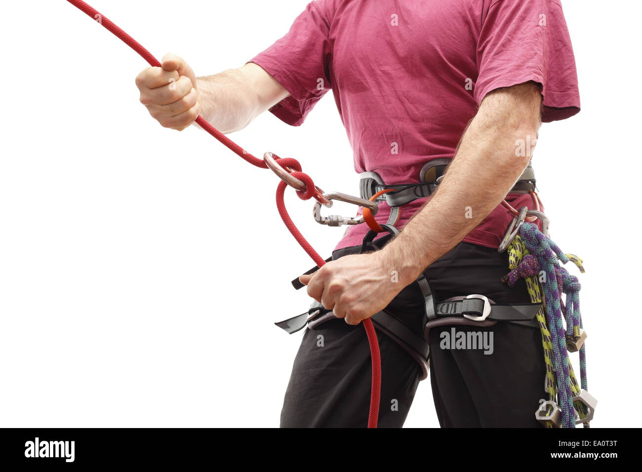 climber with belay - Stock Image