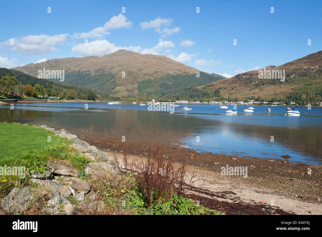 Lochgoilhead; Loch; Goil; Drimsynie; boats, sunny; reflections; Argyll; and; Bute; Scotland; UK Stock Photo