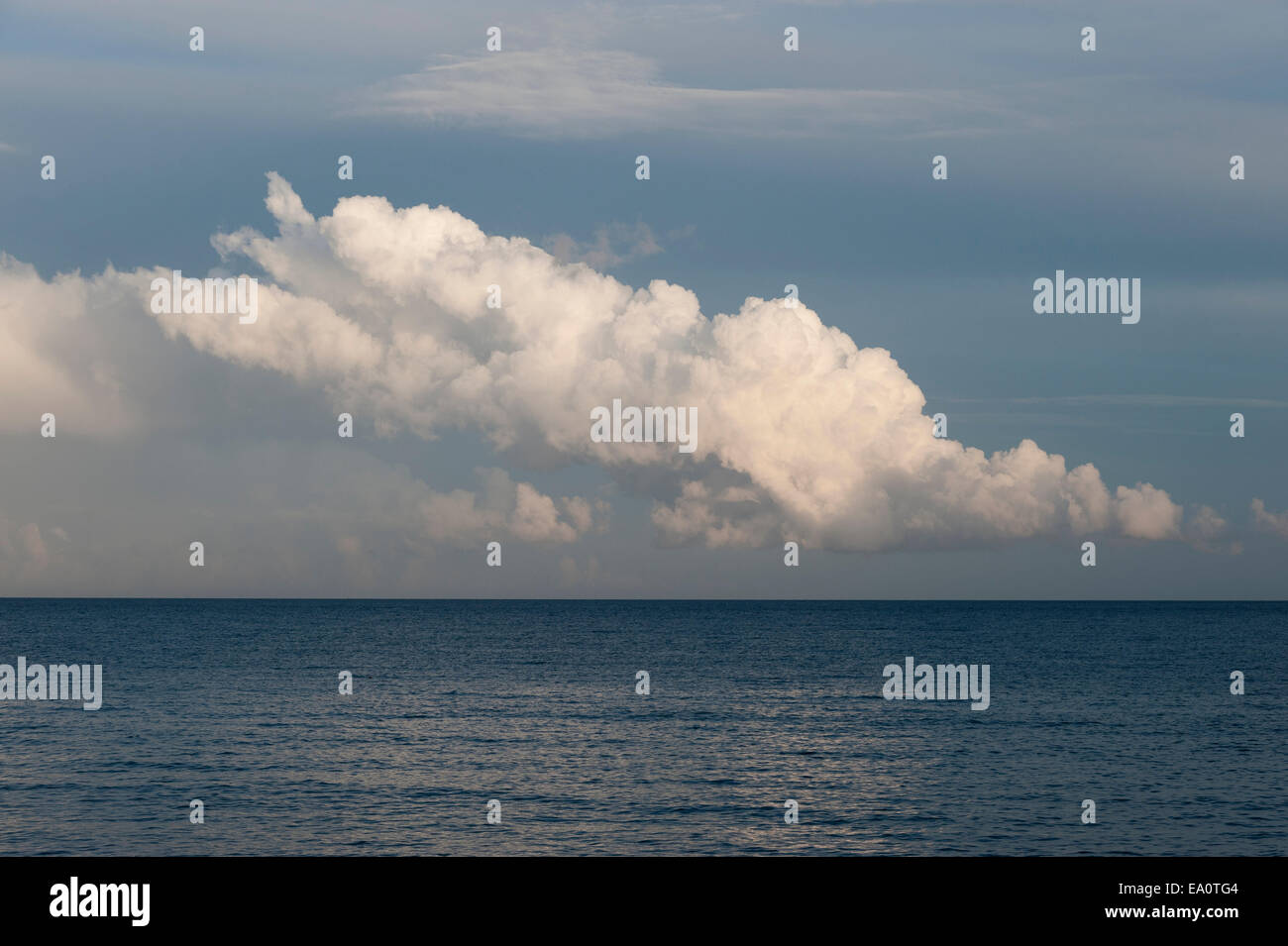 Clouds over the sea in Mevagissey, Cornwall. - Stock Image