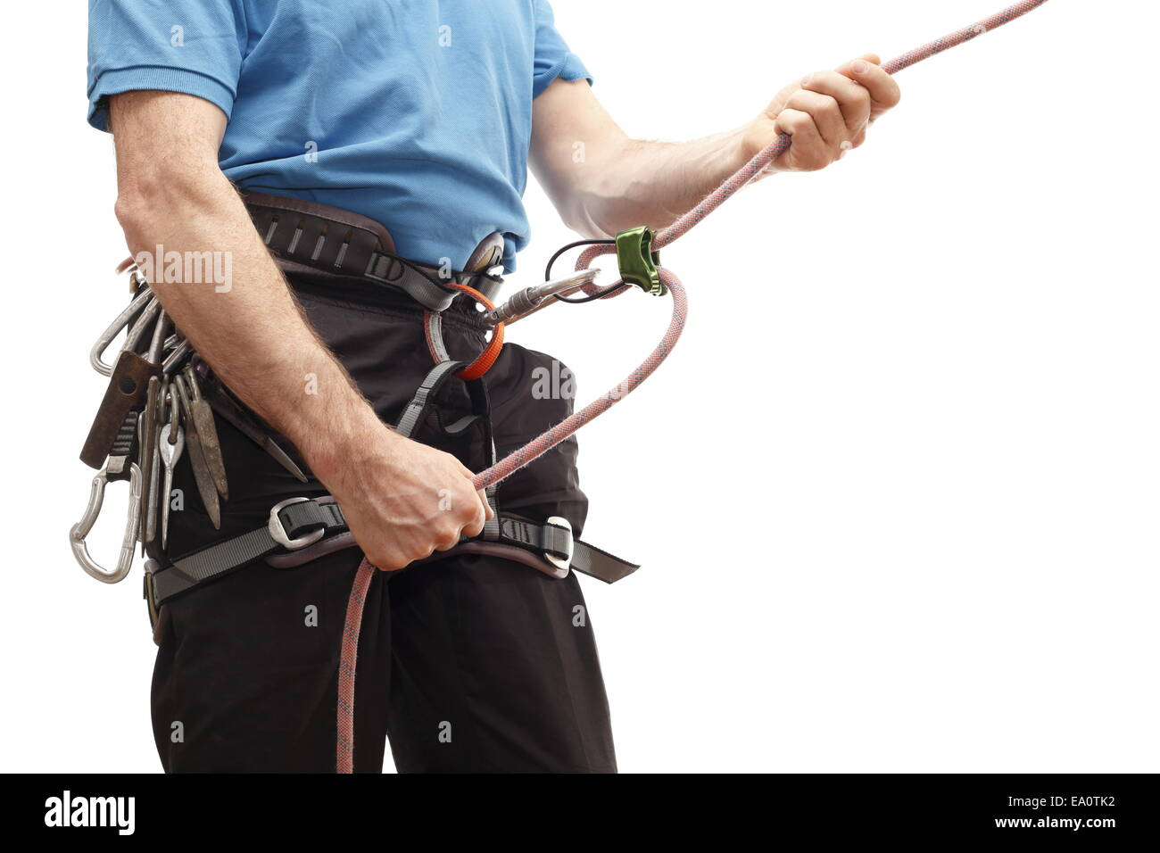 man with belay - Stock Image
