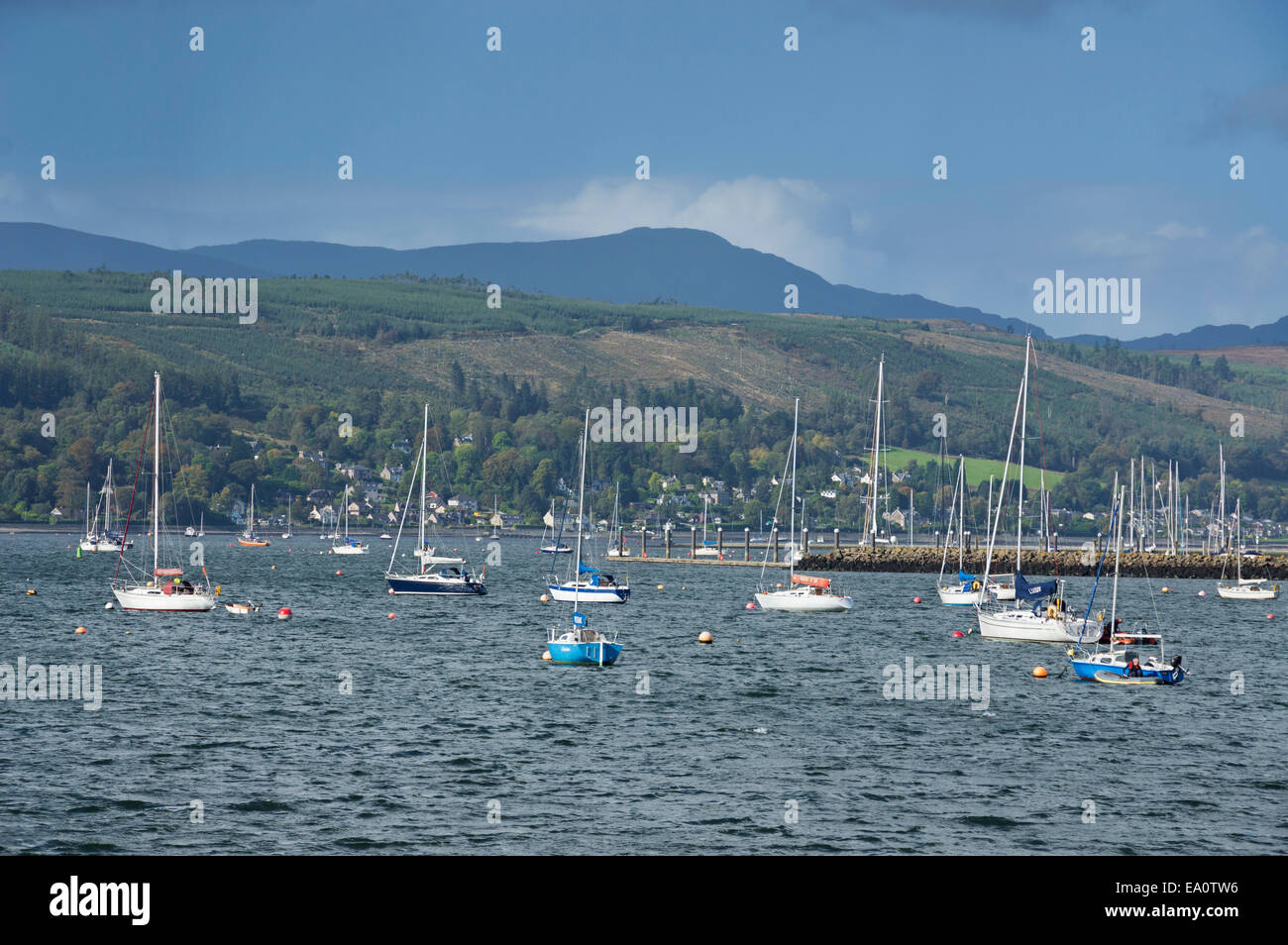 Looking across Gare Loch from  Helensburgh,  Argyll, and, Bute,  Scotland; UK - Stock Image