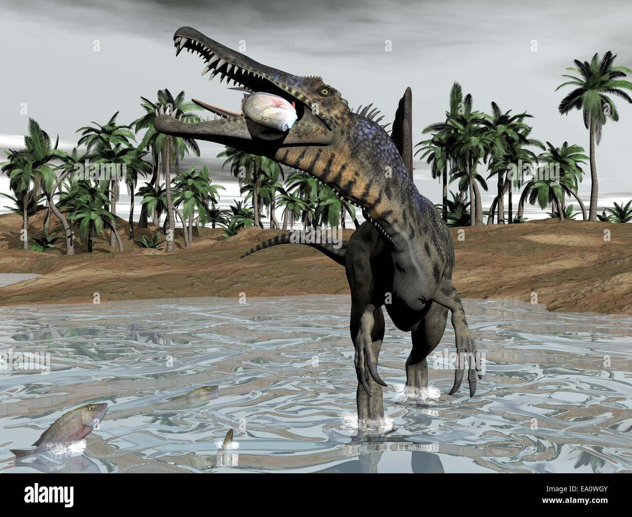 Spinosaurus dinosaur eating fish - 3D render - Stock Image