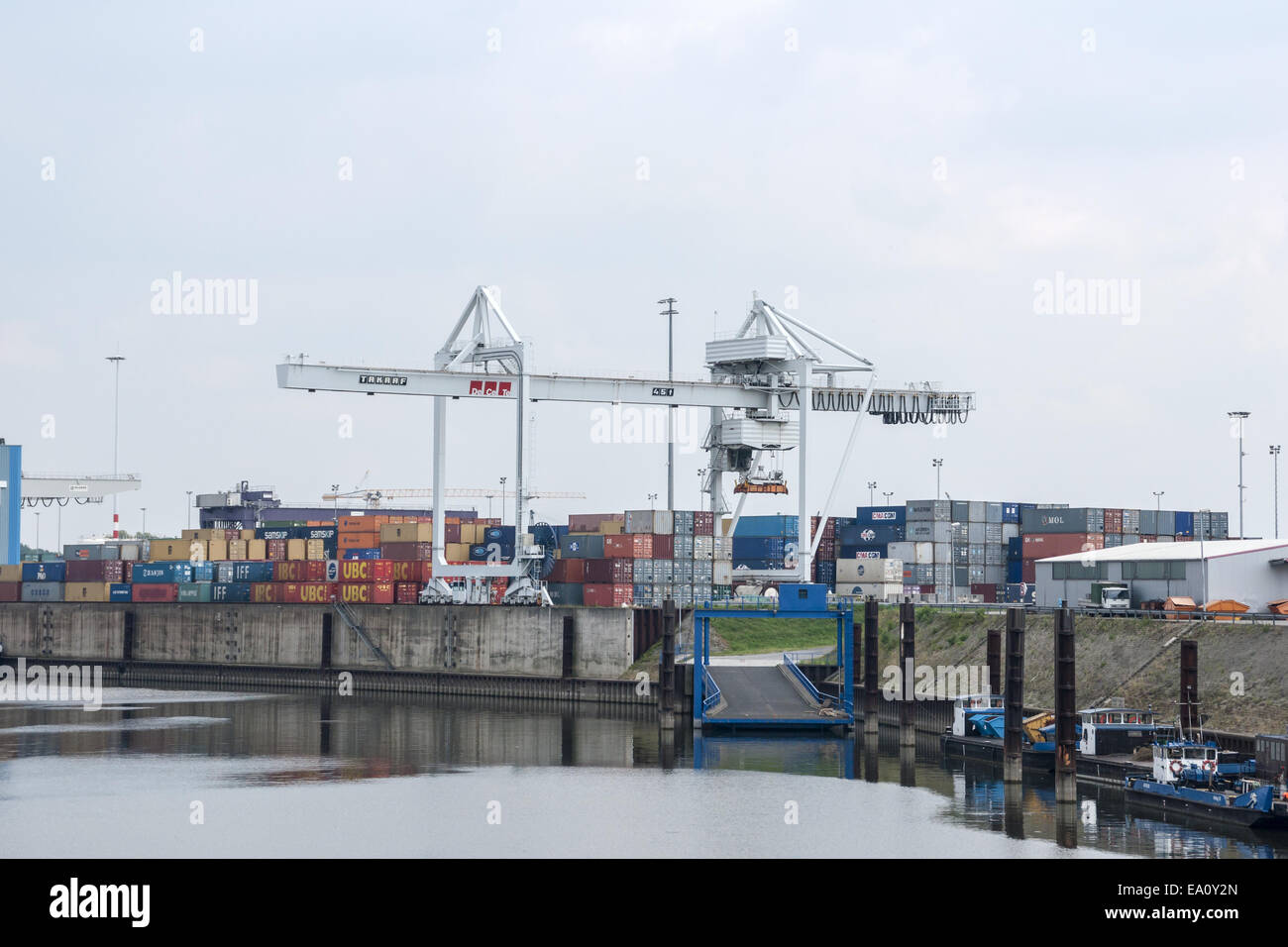 Container harbor Duisburg Ruhrort, Germany Stock Photo
