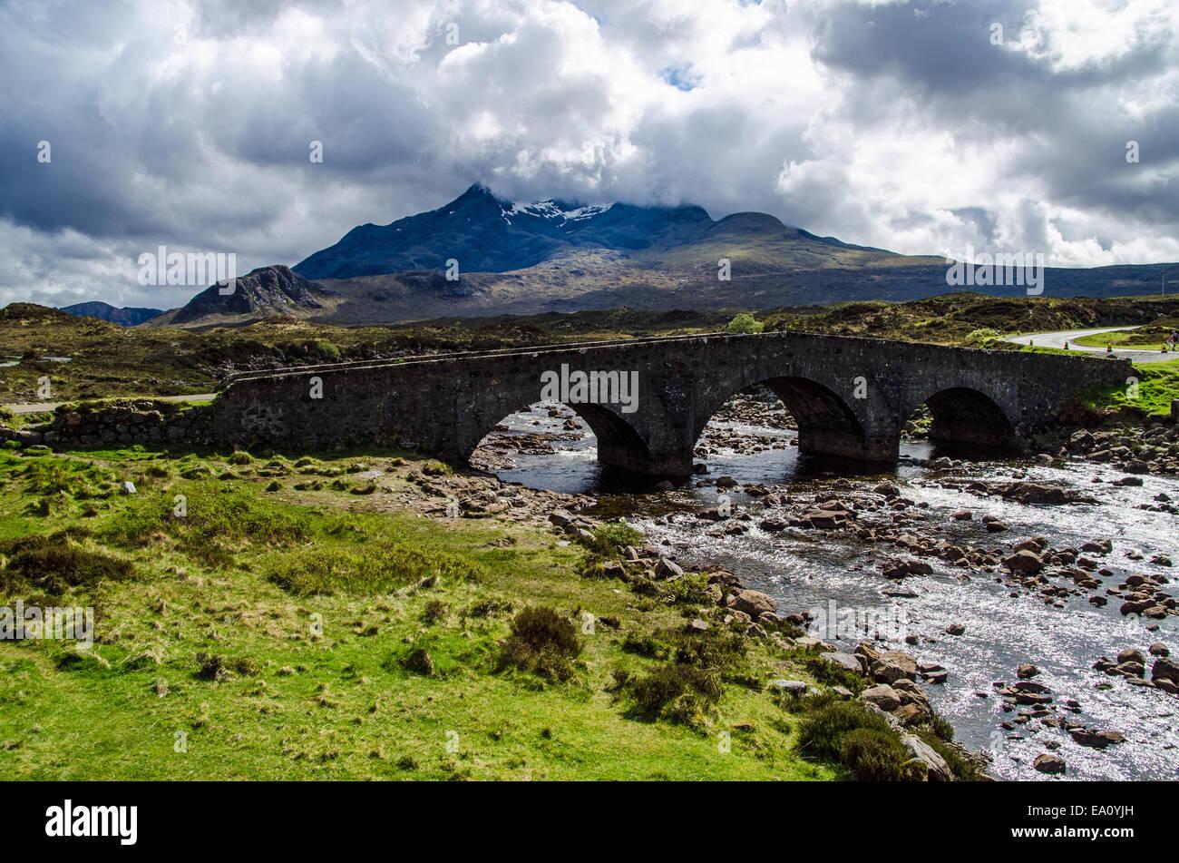 Sligachan,Black Cuillin Mountains on the Isle of Skye - Stock Image