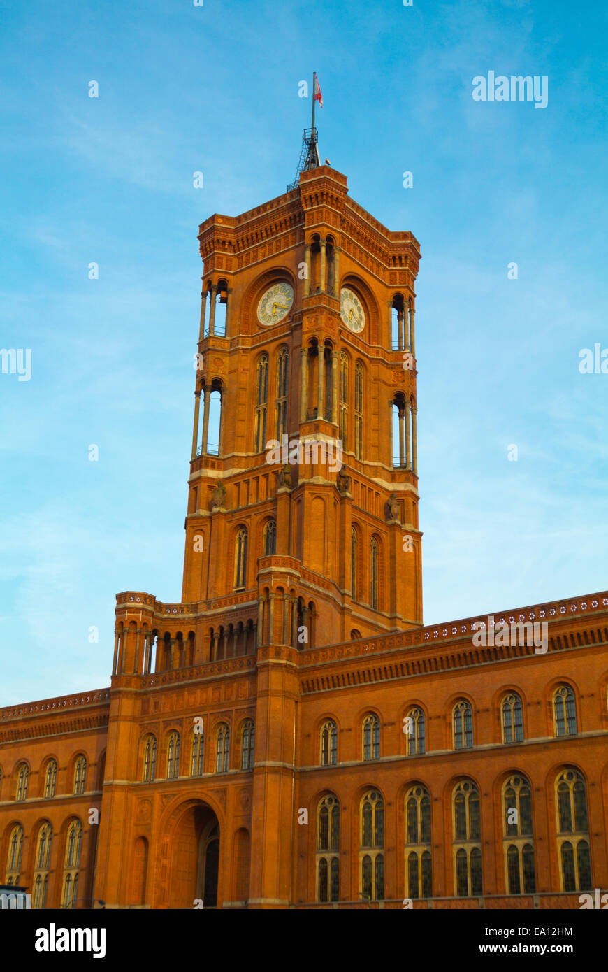 Rötes Rathaus, the red town hall, Alexanderplatz square, Mitte district, east Berlin, Germany - Stock Image