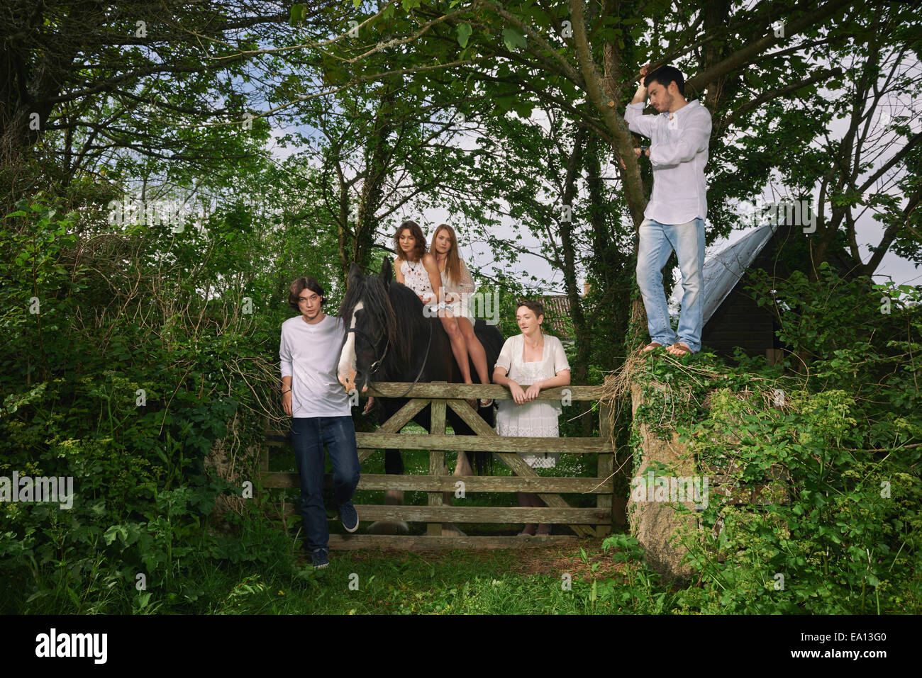 Portrait of five young adults and horse at forest gate - Stock Image