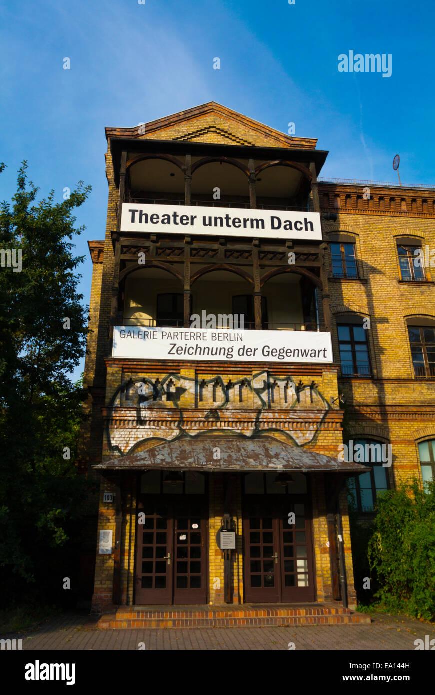 Theater unterm Dach theatre, Kulturhaus, former gasworks, Ernst-Thälmann-Park, Prenzlauer Berg district, Berlin, - Stock Image