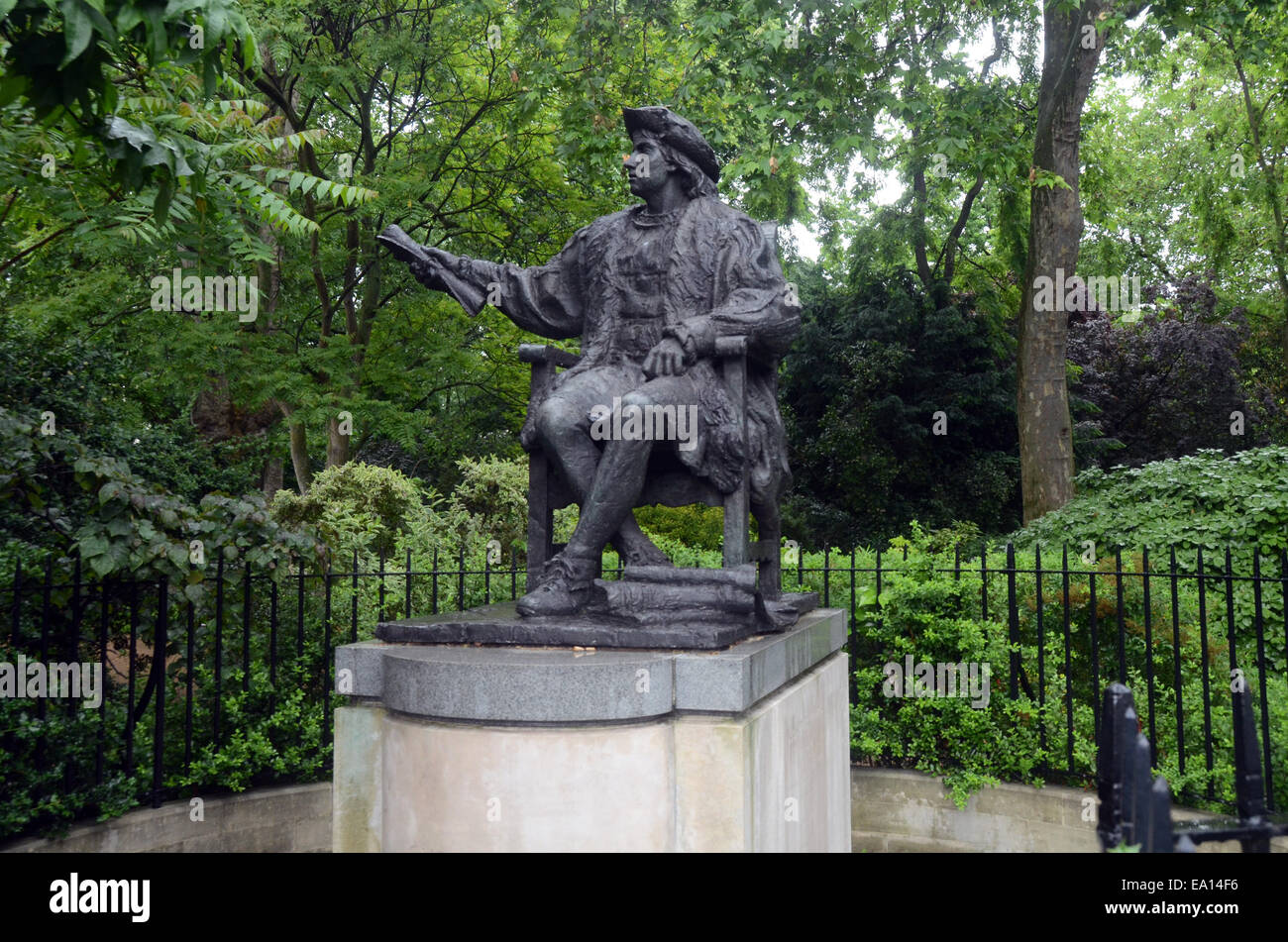London,UK,5 November 2014,In south corner Belgrave Square sits bronze statue rather youthful Christopher Columbus - Stock Image