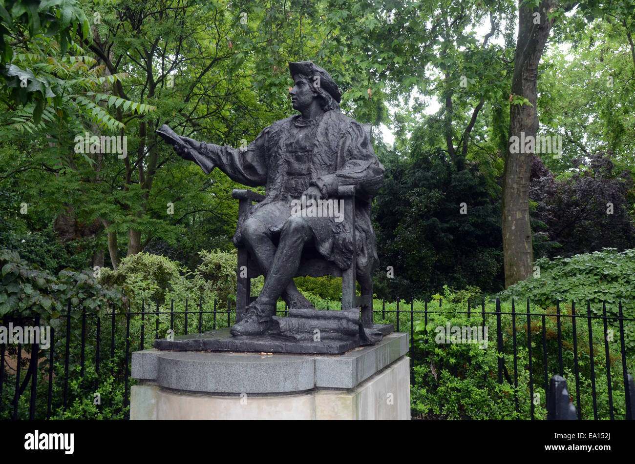 London,UK,5 November 2014,In south corner Belgrave Square sits bronze statue rather youthful Christopher Columbus Stock Photo