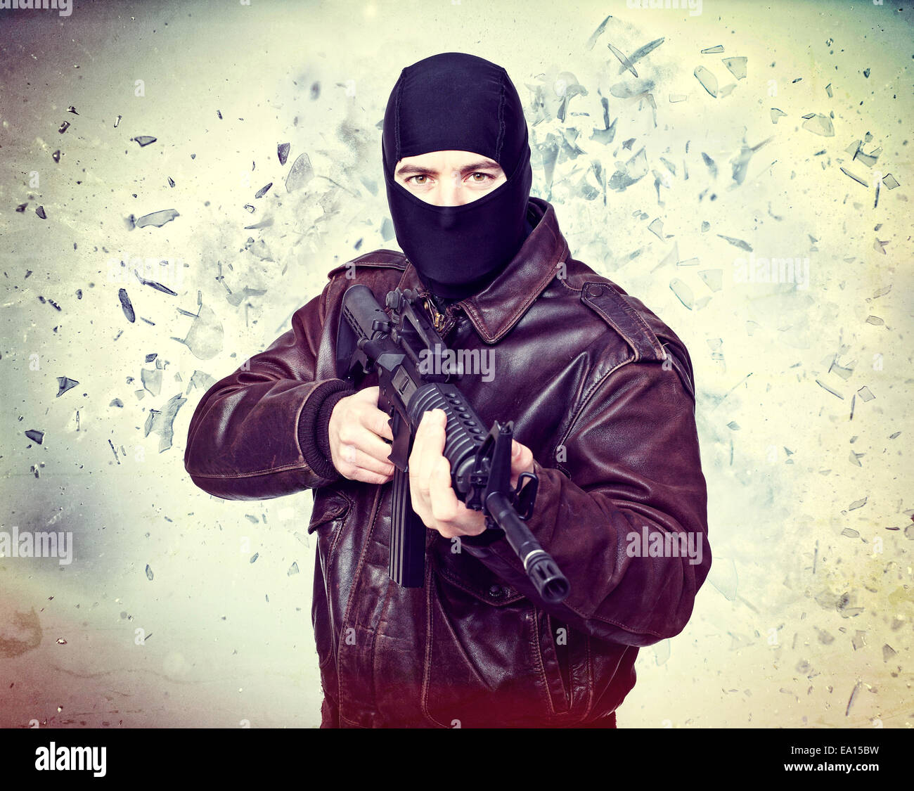 terrorist portrait and background explosion - Stock Image