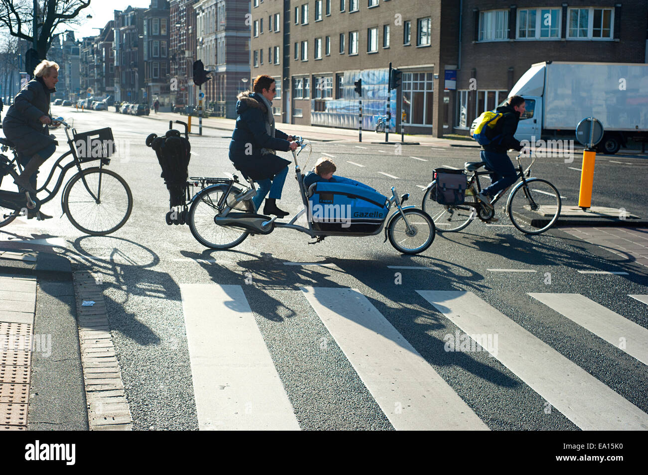 Amsterdam bicyclists - Stock Image