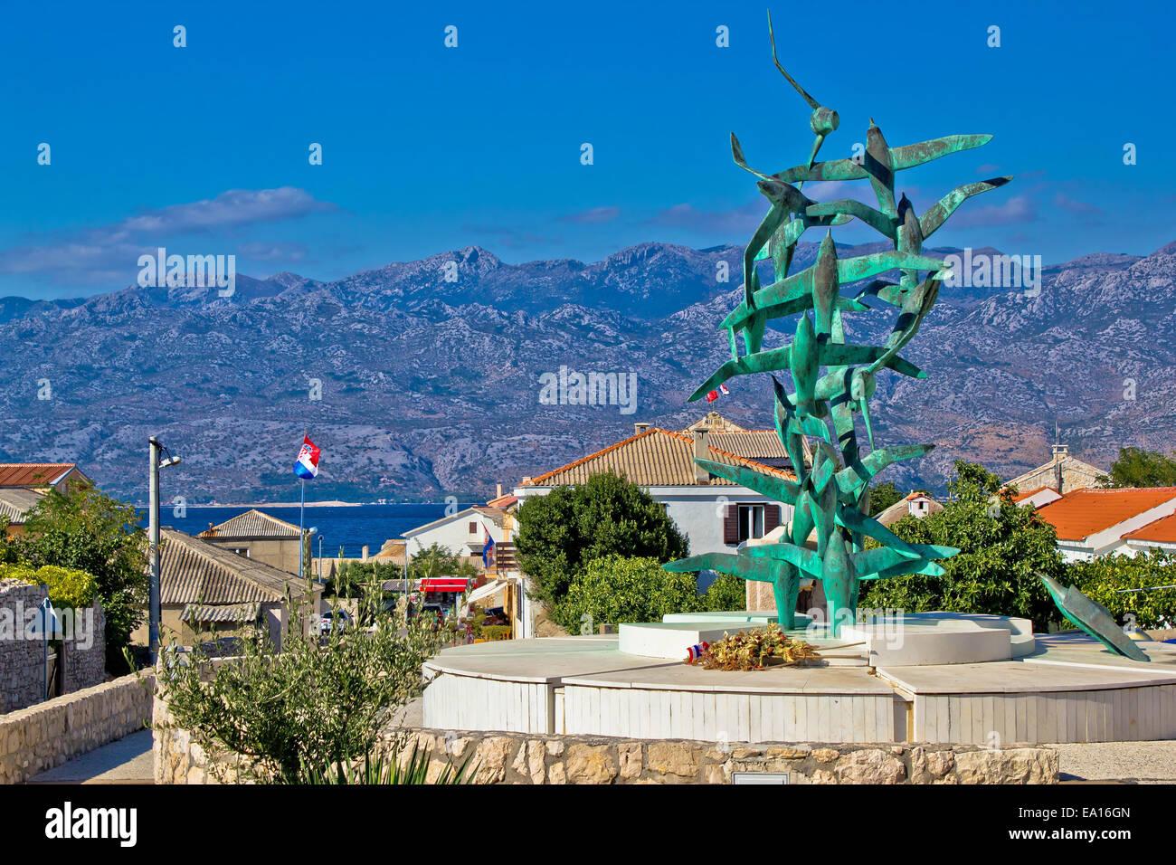 Town of Razanac with Velebit background Stock Photo