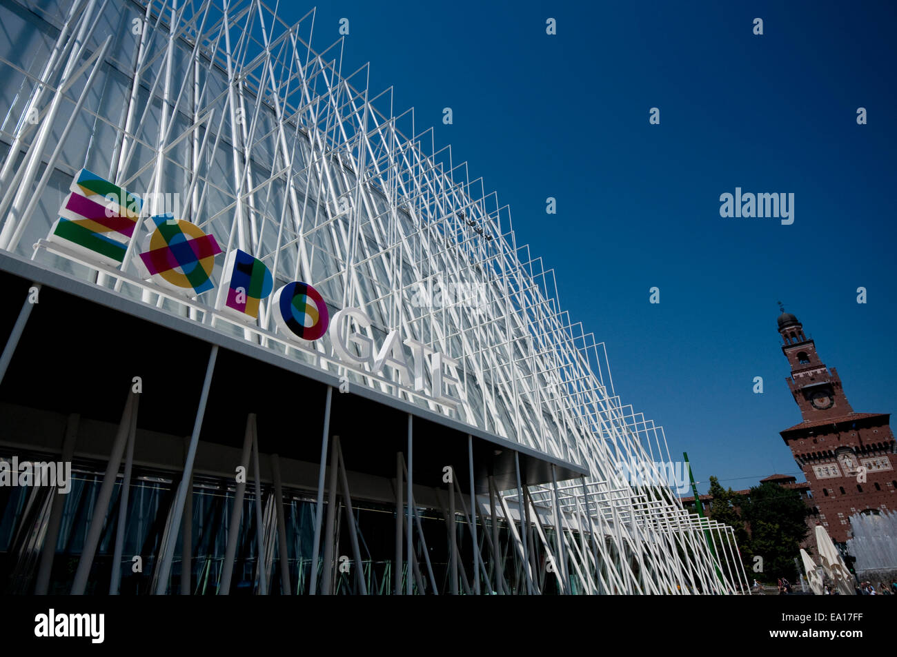 Italy, Lombardy, Milan,  Milan Expo Gate, Info Point in Castle Square for the World Exposition 2015 Stock Photo