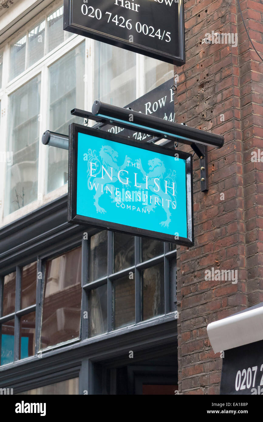 The english wine & spirits company sign, London, UK - Stock Image