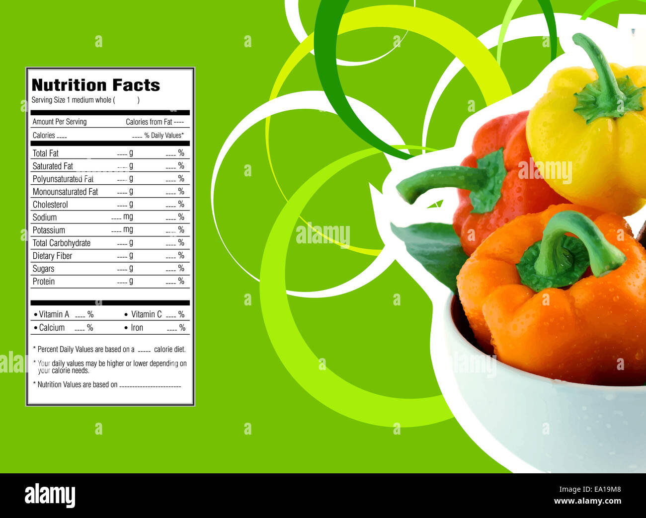 sweet bell pepper nutrition facts stock photo: 75017608 - alamy