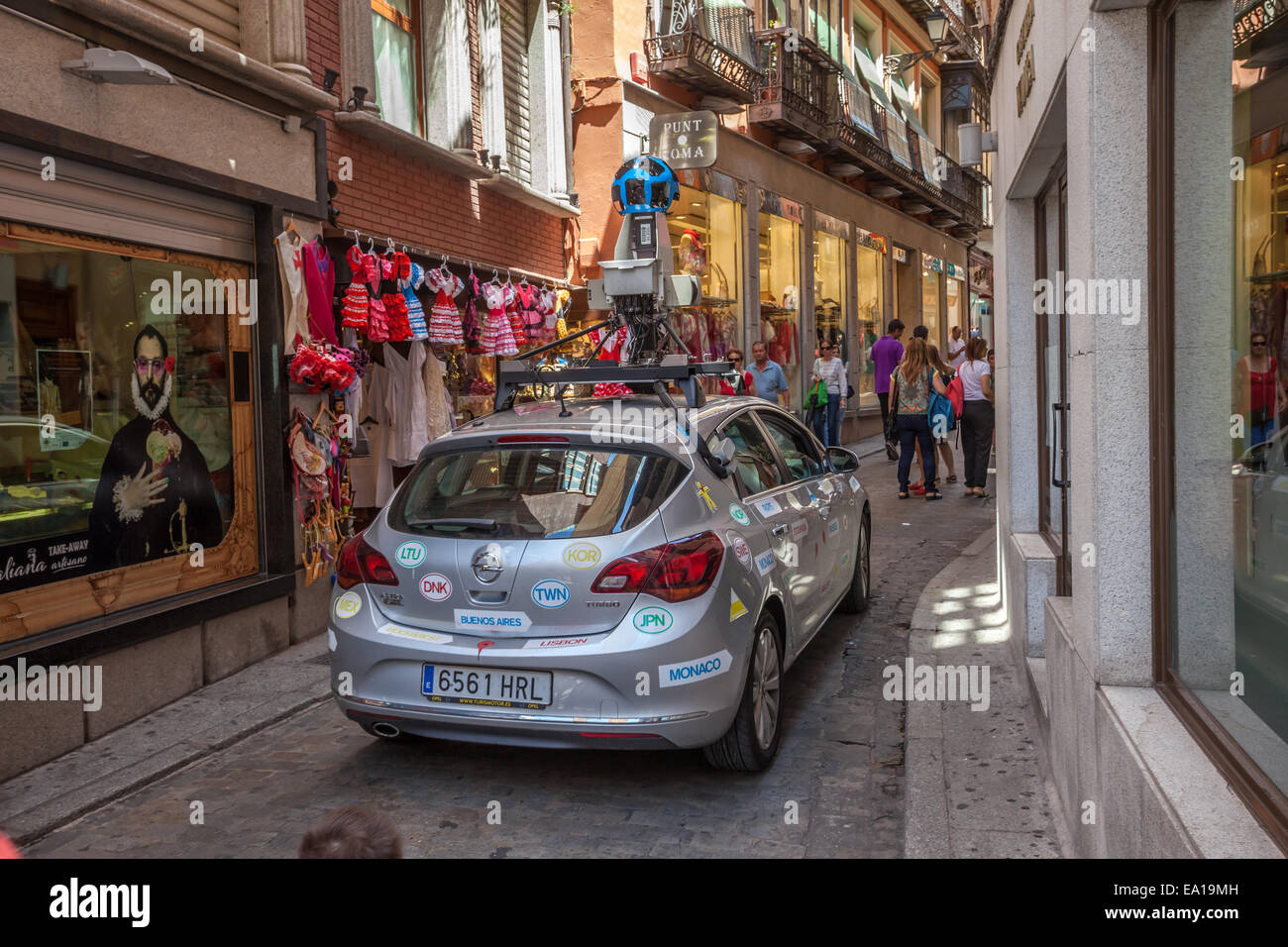 Google street view car in the old town of Toledo, Spain - Stock Image