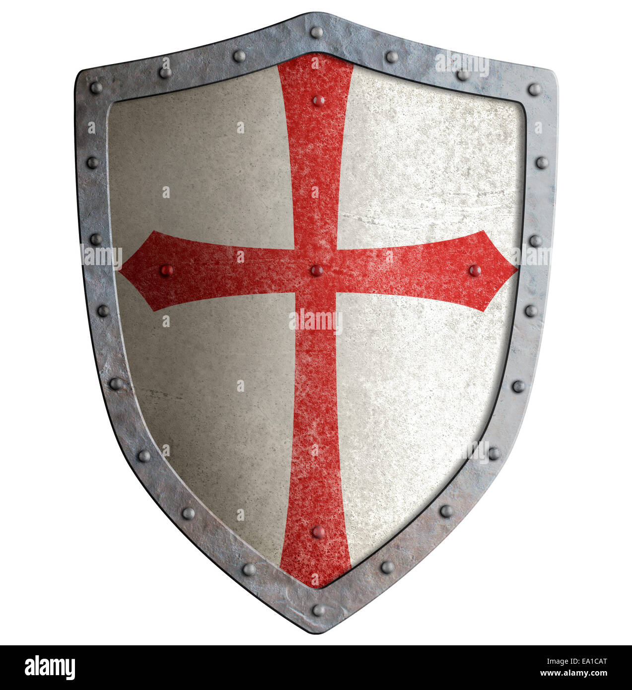 templar or crusader knight's metal shield isolated - Stock Image