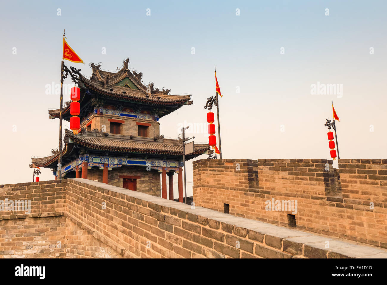 ancient turret on xian city wall - Stock Image
