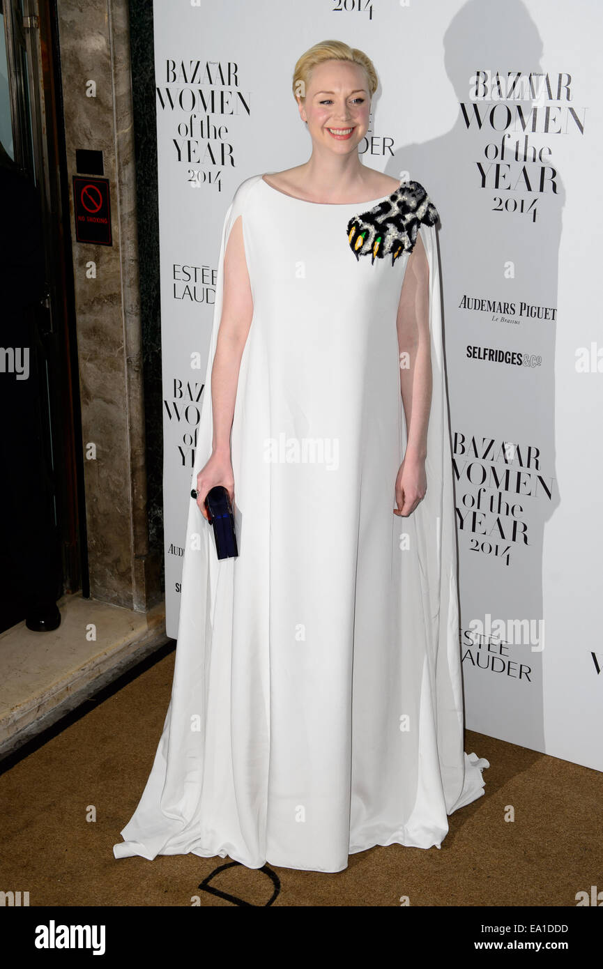 Gwendoline Christie arrives for the Harper's Bazaar Women of the Year Awards. - Stock Image