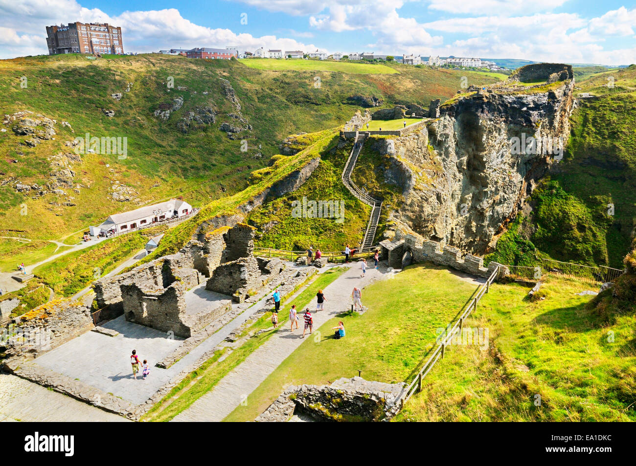 Tintagel Castle, Cornwall, UK.  Ruins of the Island courtyard and Great Hall leading to the Upper and Lower mainland - Stock Image