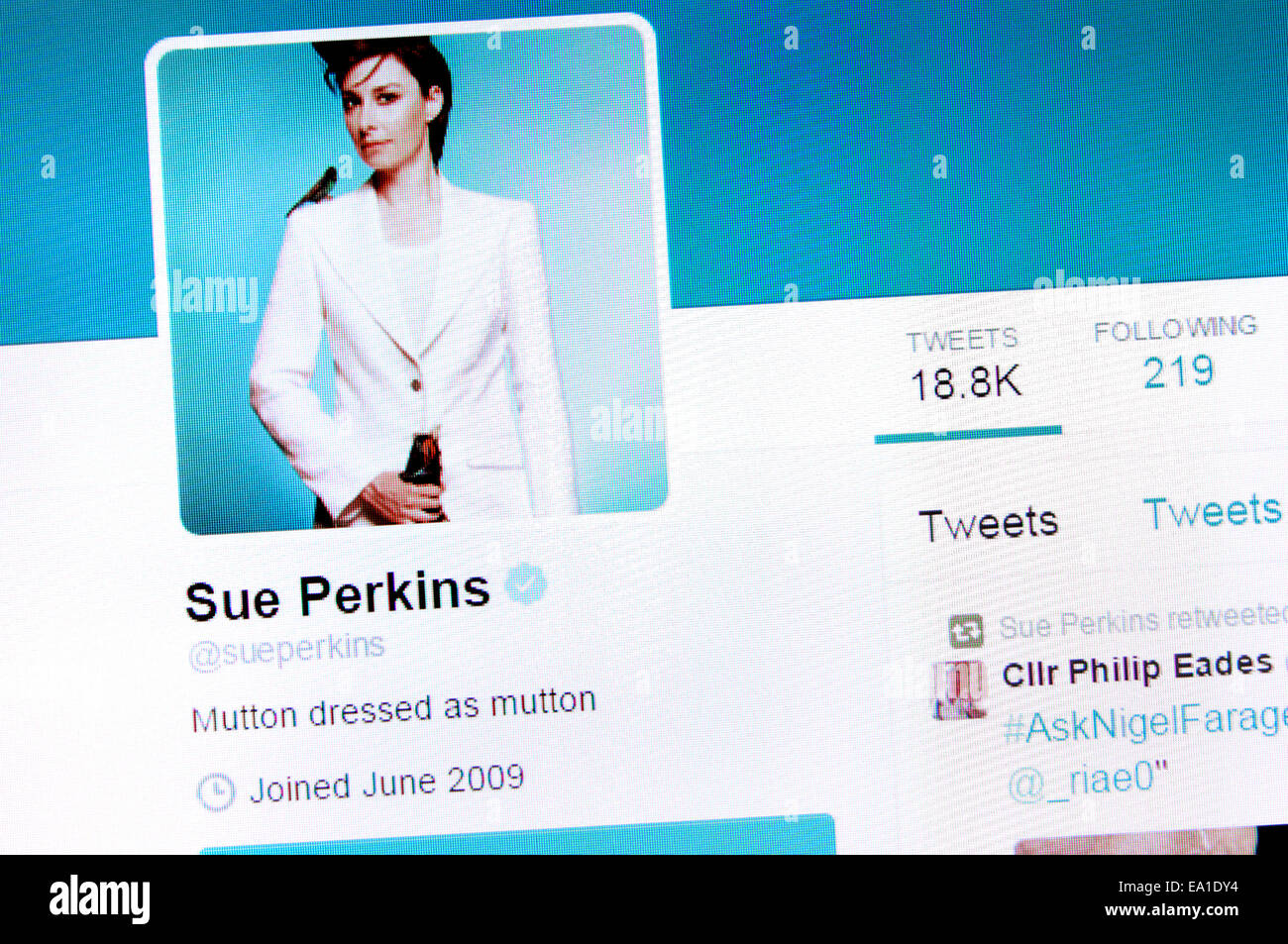 Sue Perkins' Twitter account - screenshot of profile page - Stock Image