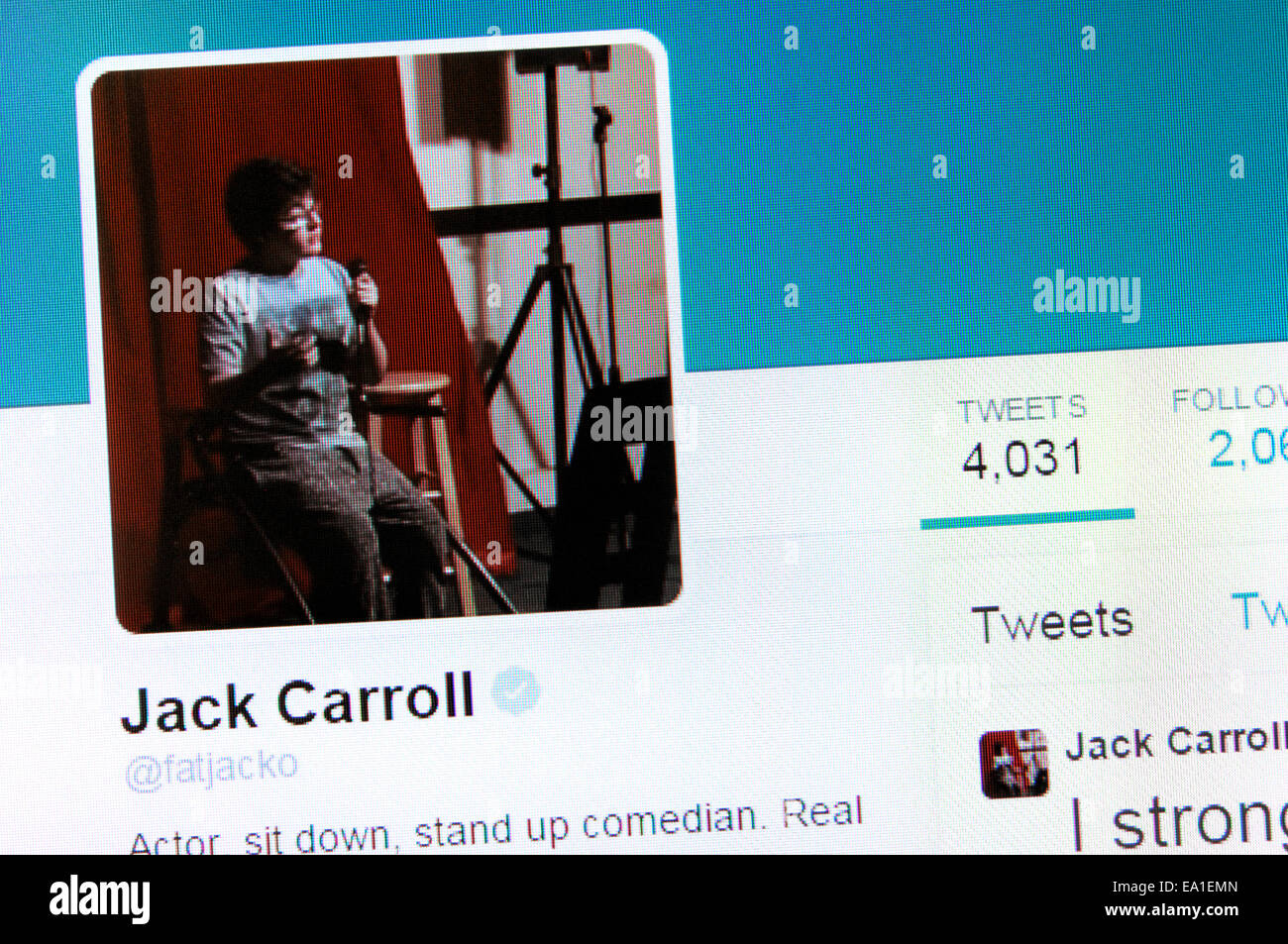 Jack Carroll's Twitter account - screenshot of profile page - Stock Image