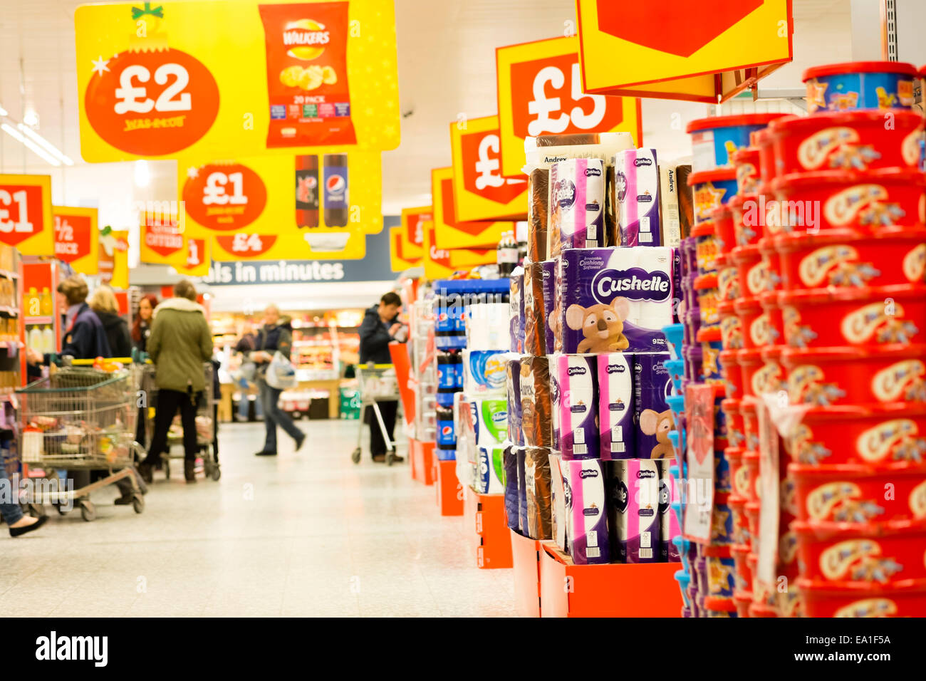 Supermarket aisle in a Morrison's store, UK. - Stock Image