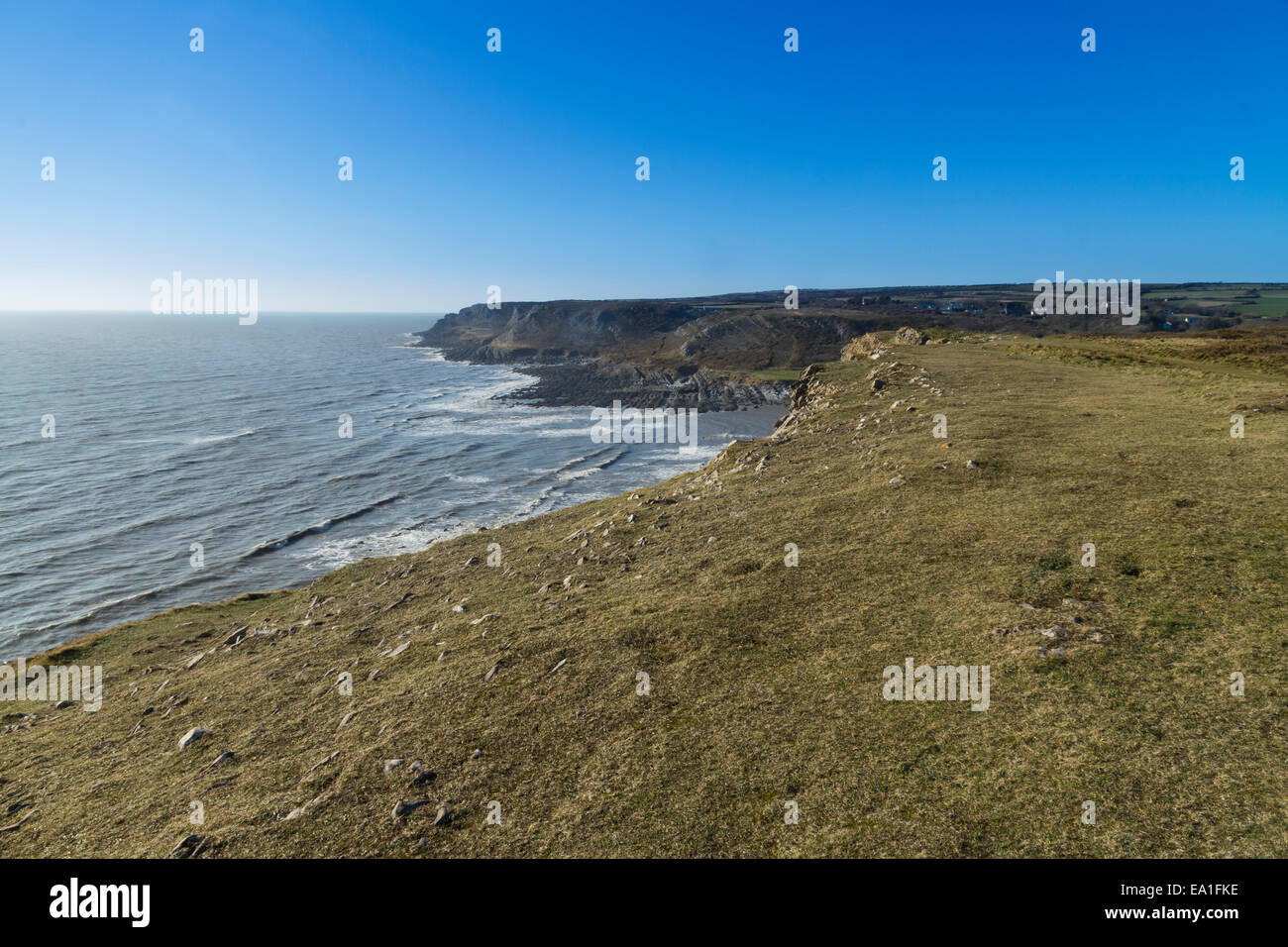 Looking west from Port Eynon Point, towards Overton Cliff and Common Cliff. Gower Peninsula, Swansea, South Wales, - Stock Image