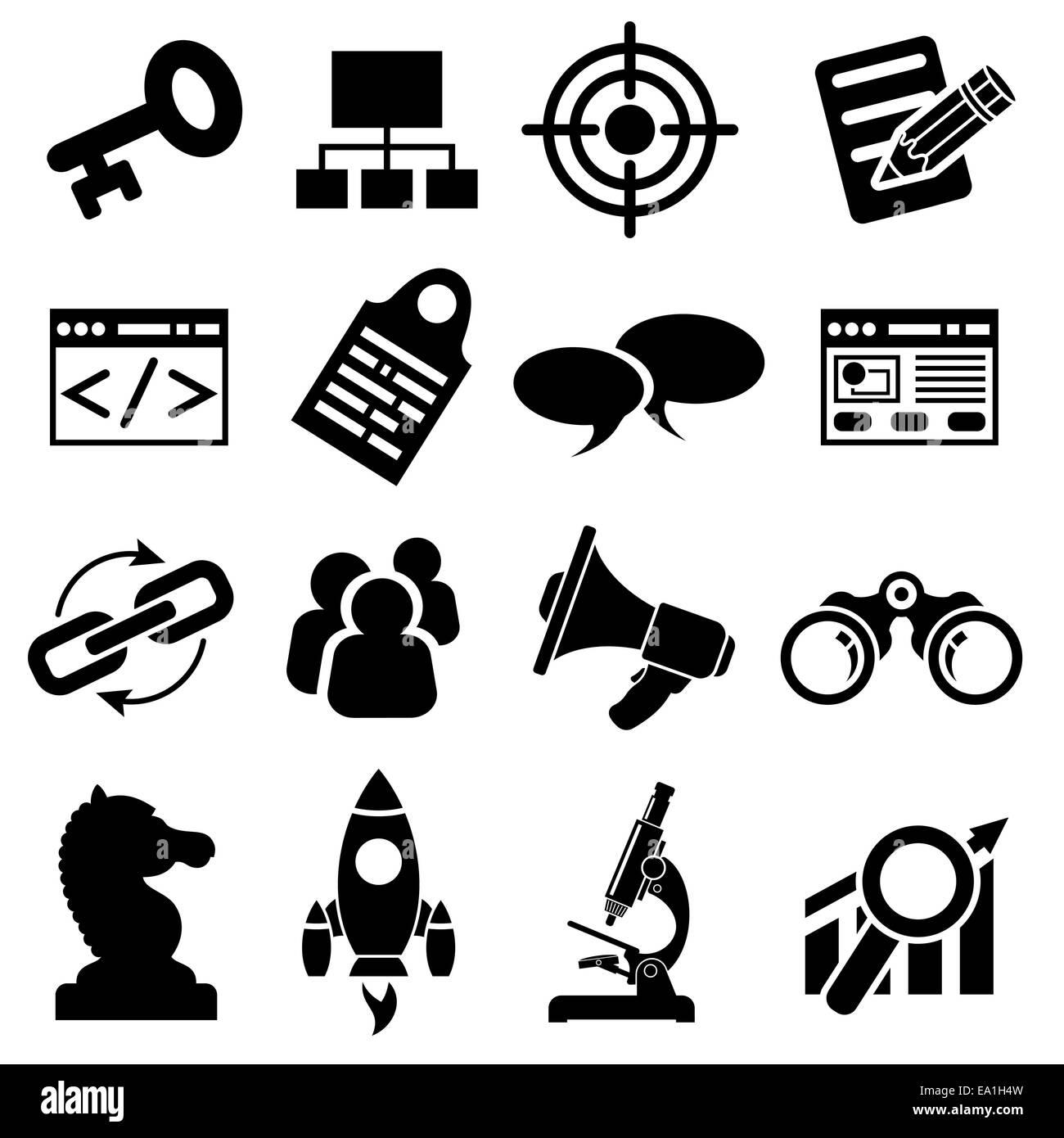 Search Engine Optimization (SEO) Icon Set. isolated on white background. - Stock Image