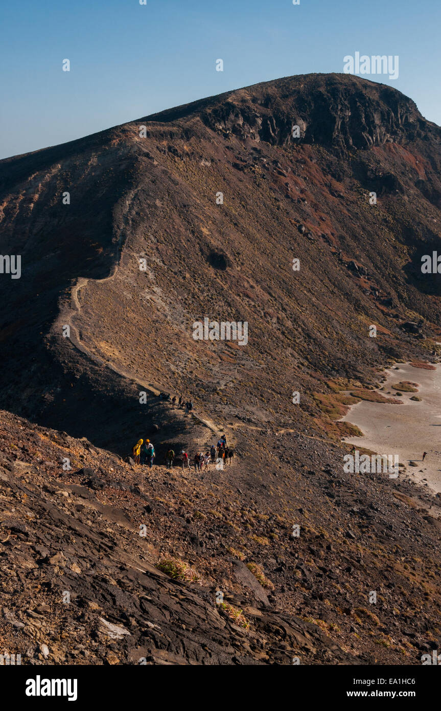 The caldera of Mount Lewotolok in Lembata Island, Indonesia. - Stock Image