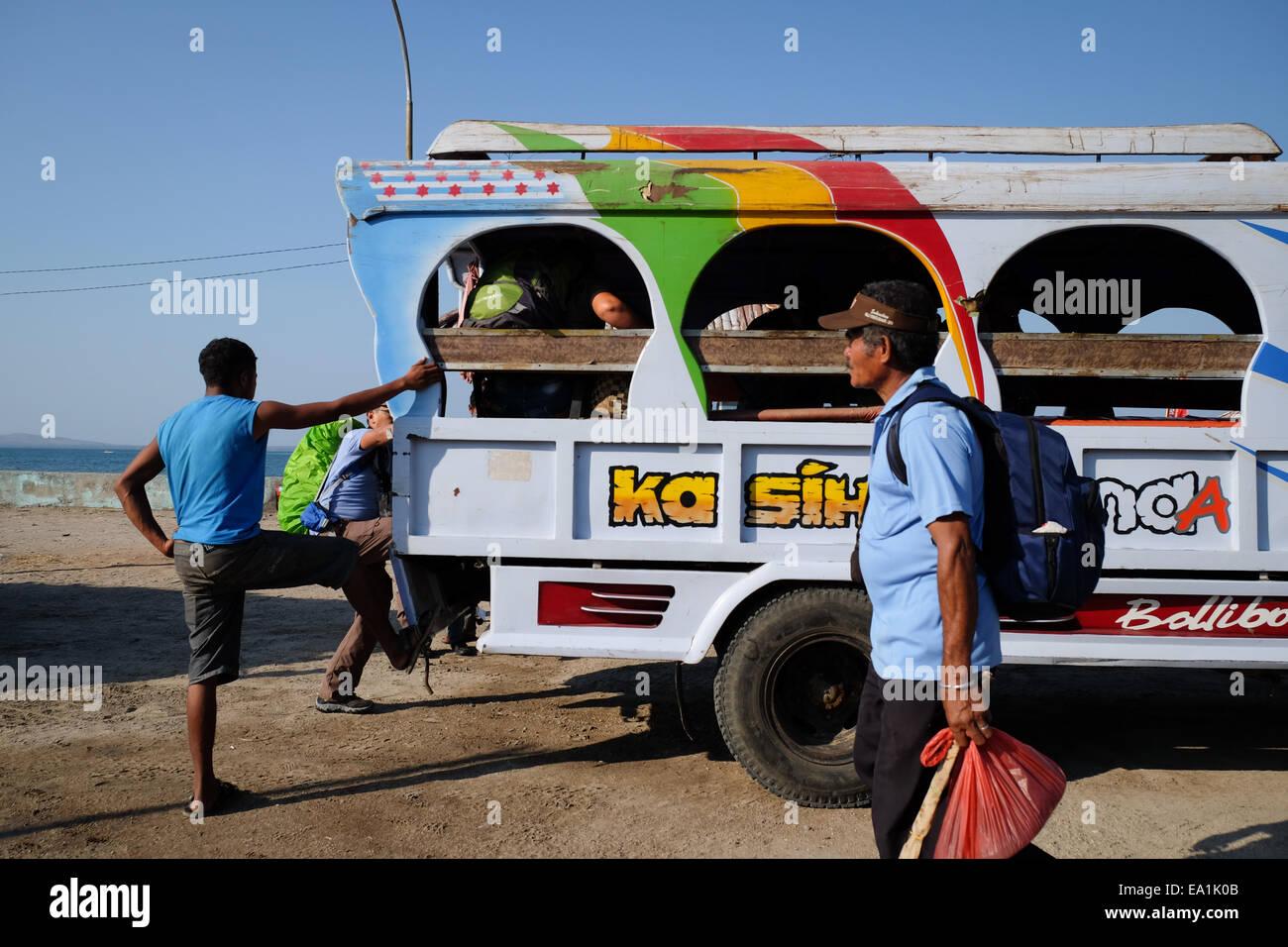 Public transportation in Lewoleba city, Lembata Island, Indonesia. - Stock Image