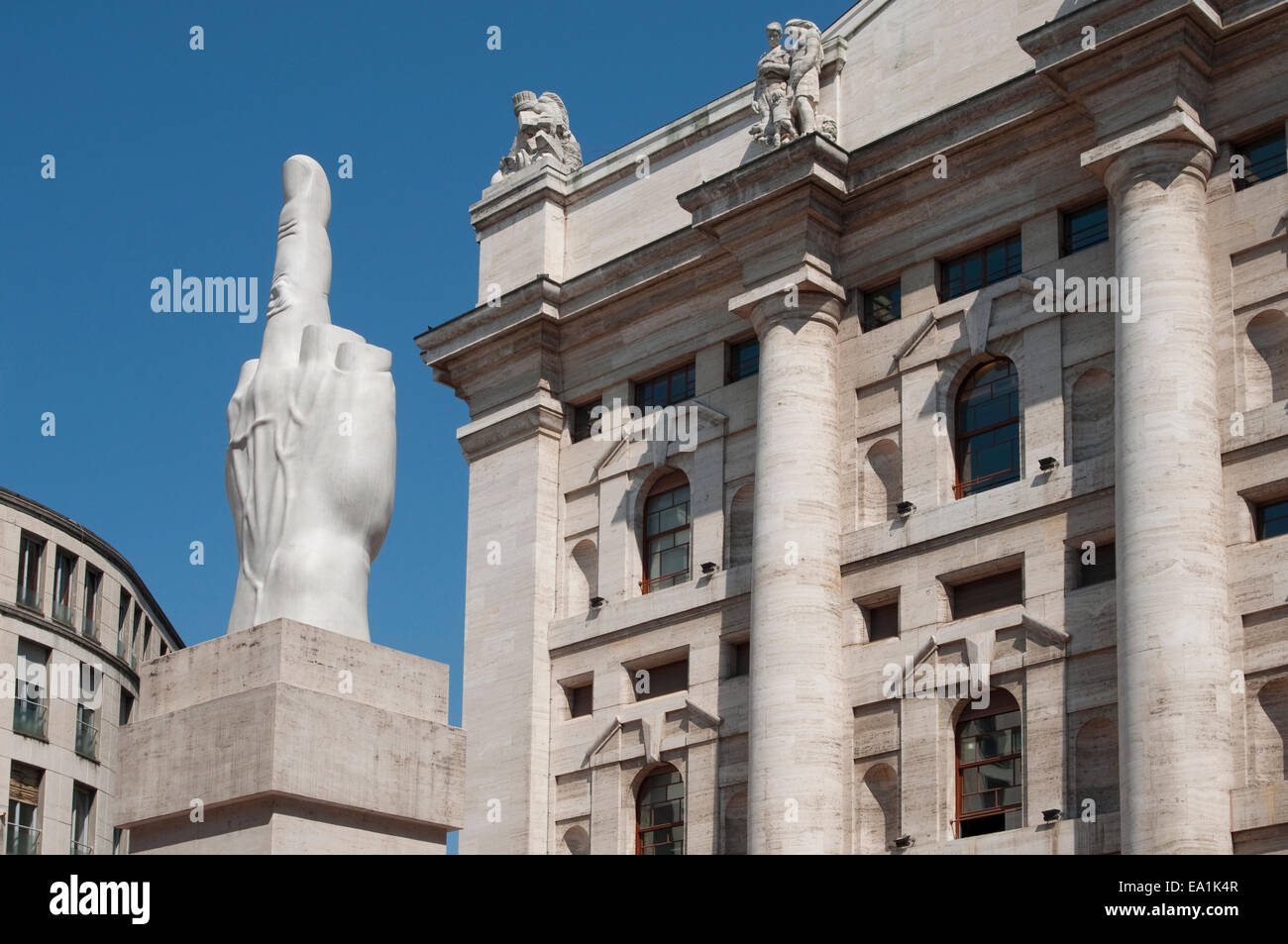 2787b967e2 Italy, Lombardy, Milan, Piazza Affari Square, Stock Exchange and Maurizio  Cattelan Sculpture.