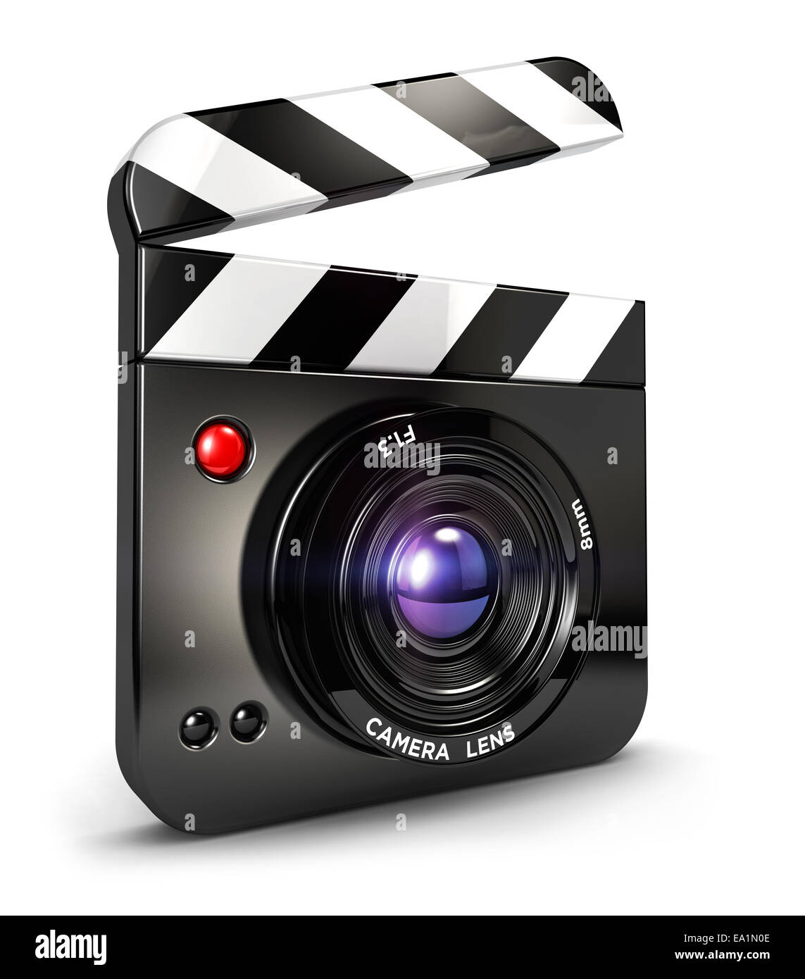 3d camera clapper board, isolated white background, 3d image Stock Photo