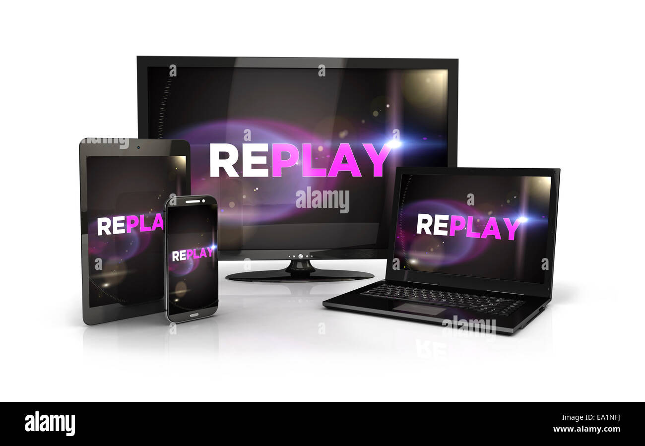 3d replay screen on computer devices, isolated white background, 3d image Stock Photo