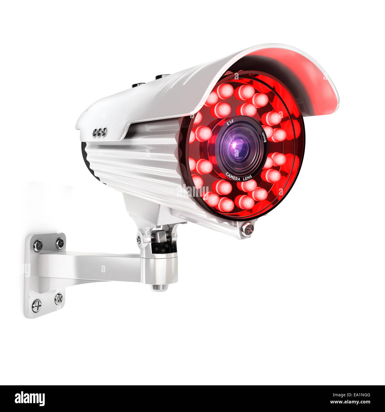 3d security camera, isolated white background, 3d image Stock Photo