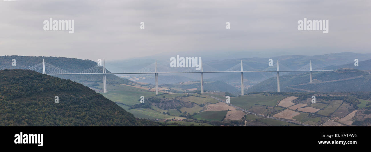 Designed by the engineer M.Virlogeux and by architect N.Foster, the Millau viaduct is the tallest cable-stayed bridge - Stock Image