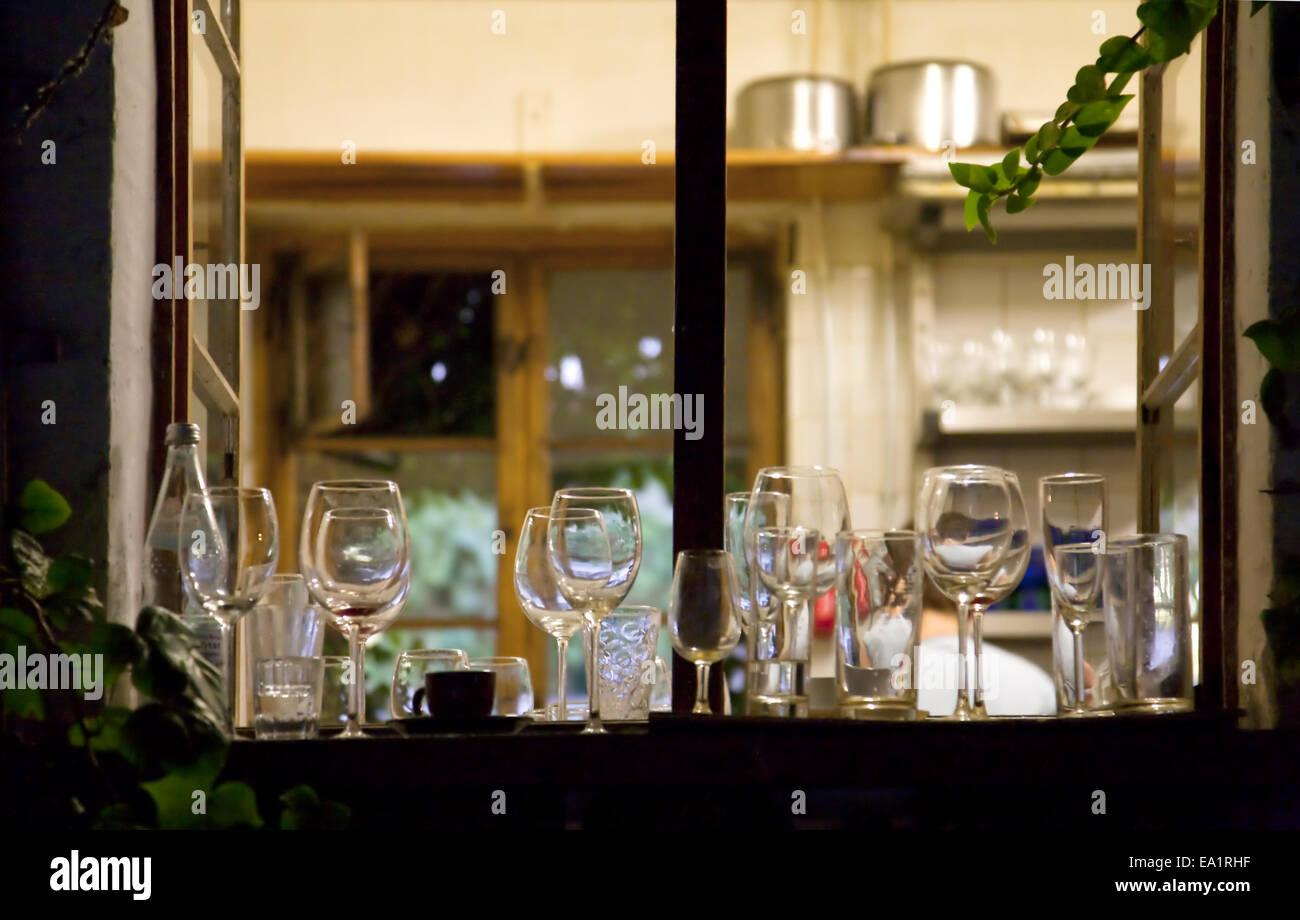 View through kitchen's window - Stock Image