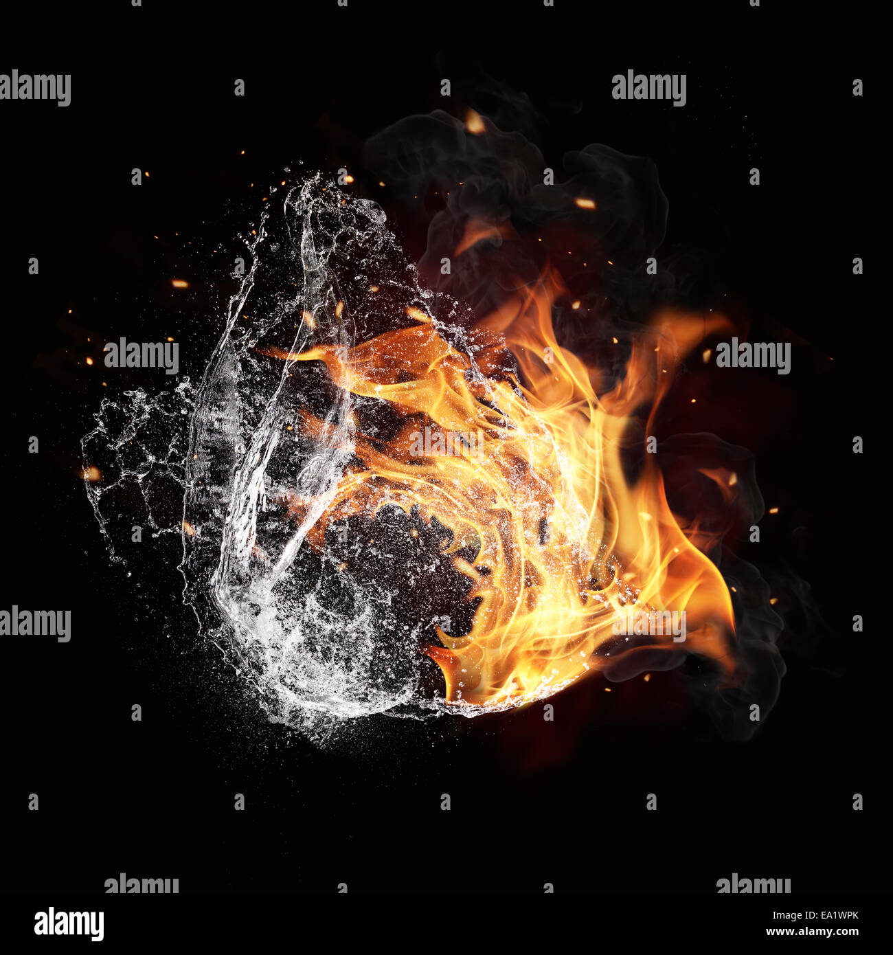 Symbol Of Water And Fire Energy Isolated On Black Background Stock