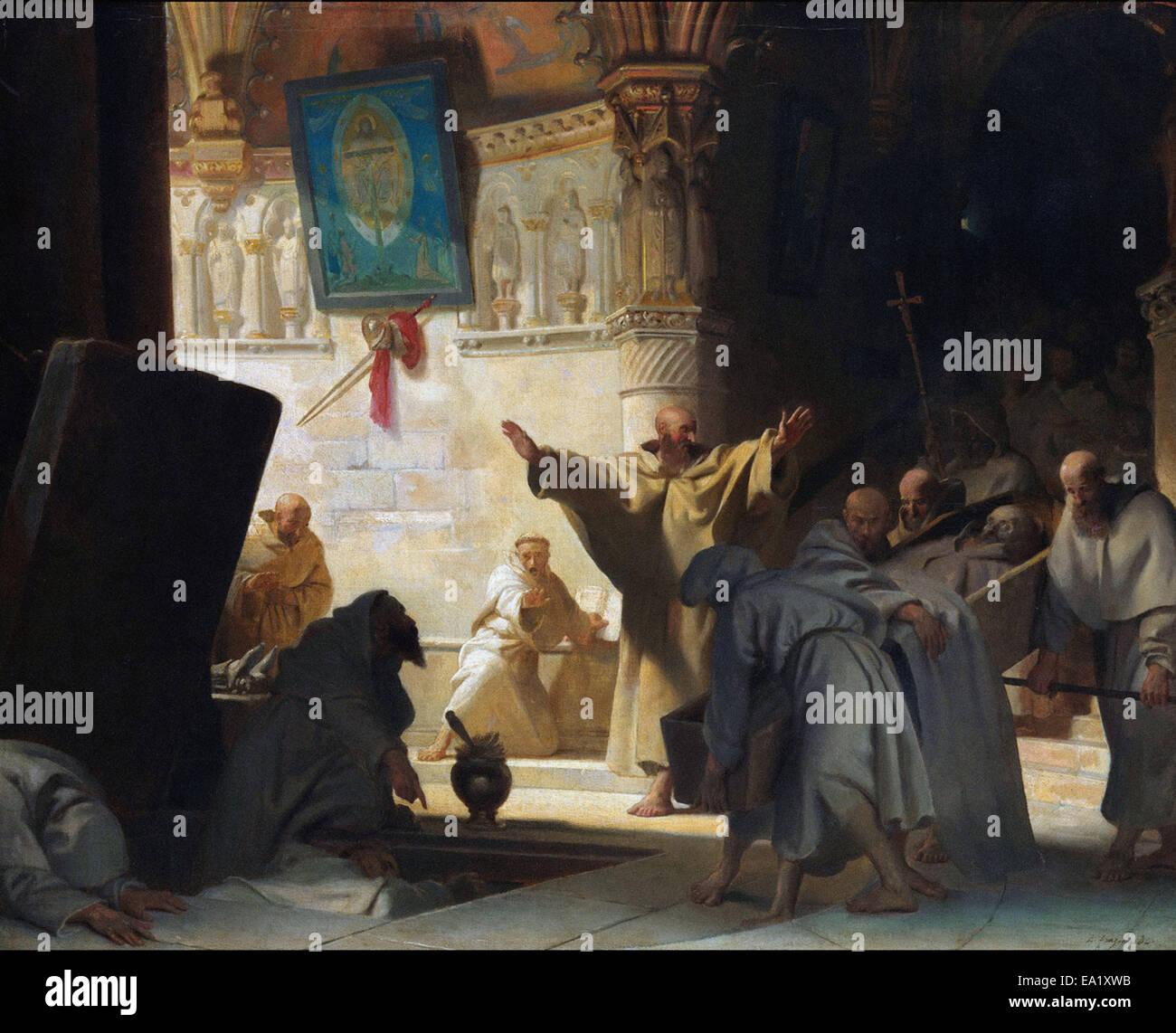 Alexandre-Évariste Fragonard  Burial of a Monk - Stock Image
