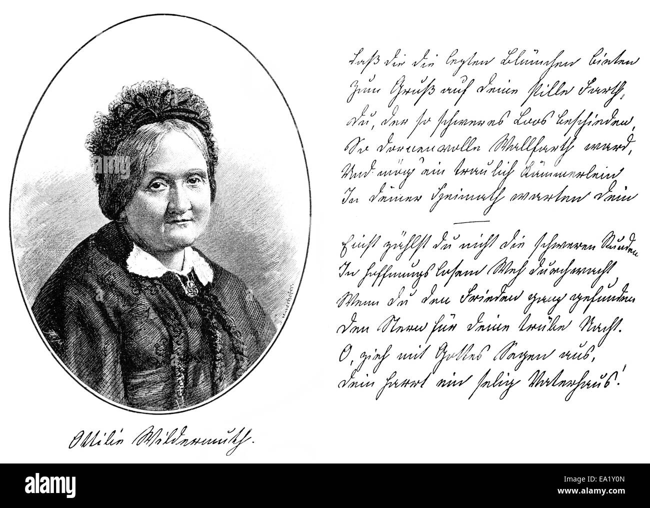 historical manuscript and portrait of Ottilie Wildermuth, 1817-1877, German writer and youth book author, Historische - Stock Image